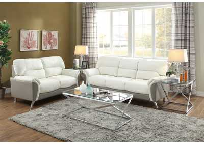 White/Gray Bonded Leather 2 Pcs Sofa Set