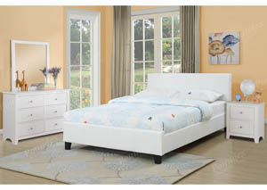 White Upholstered Platform Queen Bed
