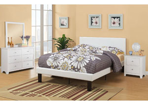 Cream Upholstered Platform Twin Bed