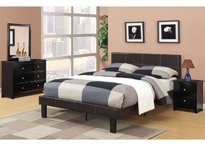 Espresso Upholstered Twin Bed