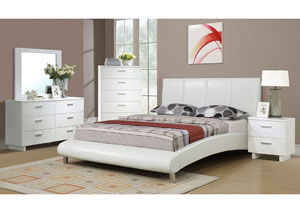 White Faux Leather Queen Bed