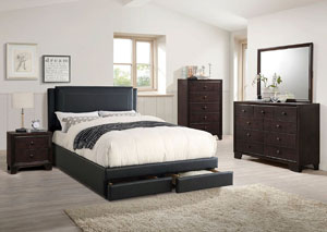 Black Faux Leather Queen Bed