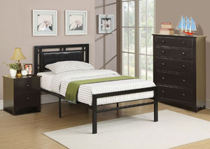 Black Metal/Faux Leather Twin Bed