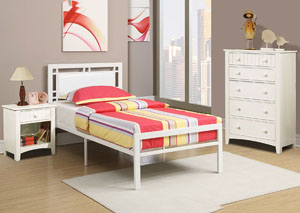 White Metal/Faux Leather Twin Bed