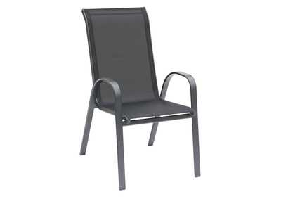 Dark Grey Stackable Aluminium Dining Chair