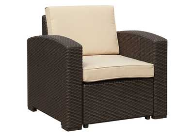 Image for Chocolate/Beige Outdoor Arm Chair