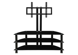 Black Glass Tri-Level TV Stand TV Stand