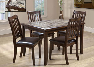 2096 5 PIECE FAUX MARBLE DINING SET