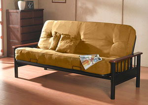 BISMARK METAL FUTON FRAME & BROWN MATTRESS