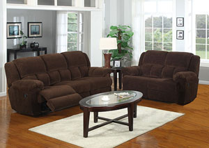 Napa Chocolate Reclining Sofa, Loveseat & Chair