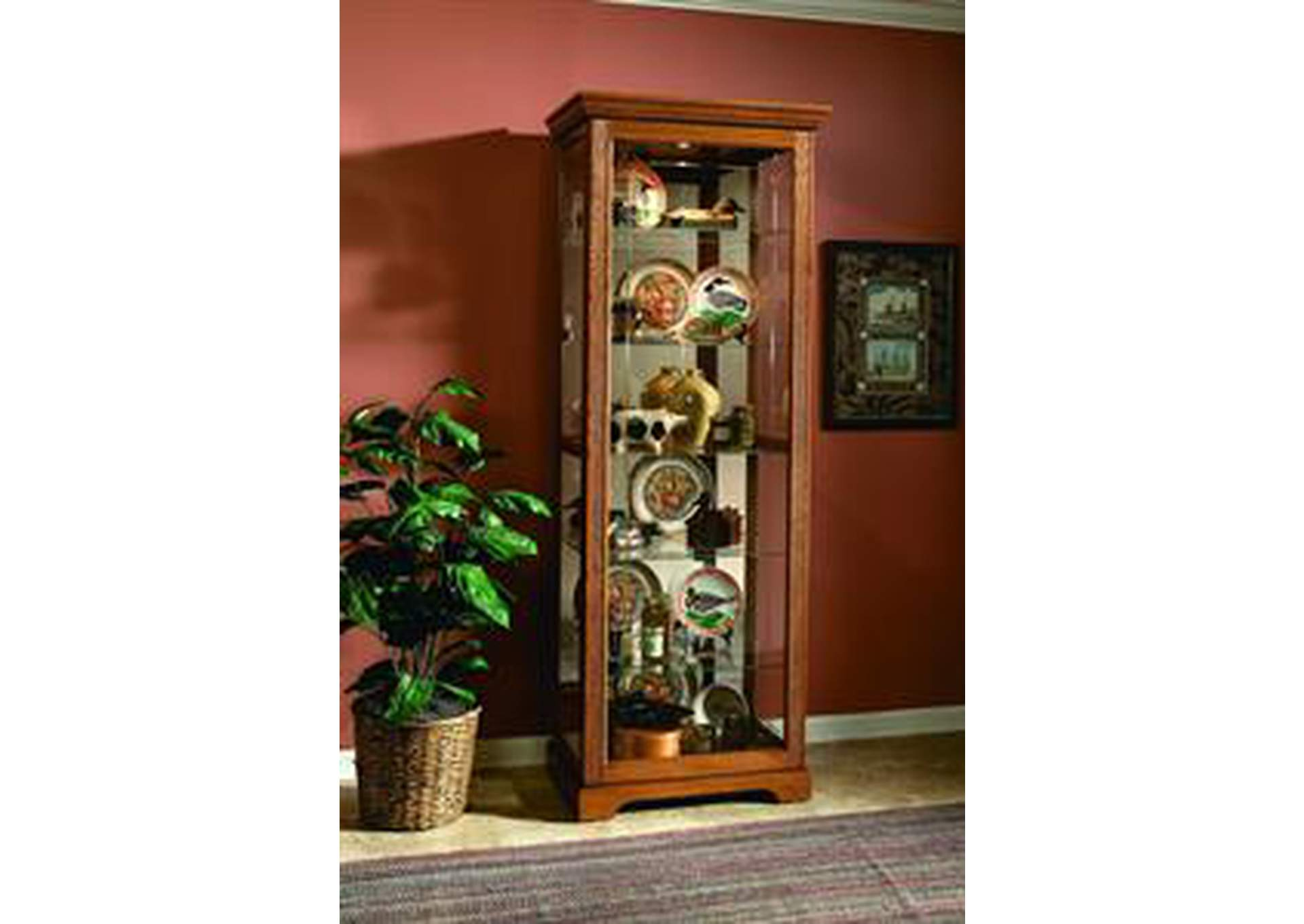Brown Two Way Sliding Door Curio,Pulaski Furniture