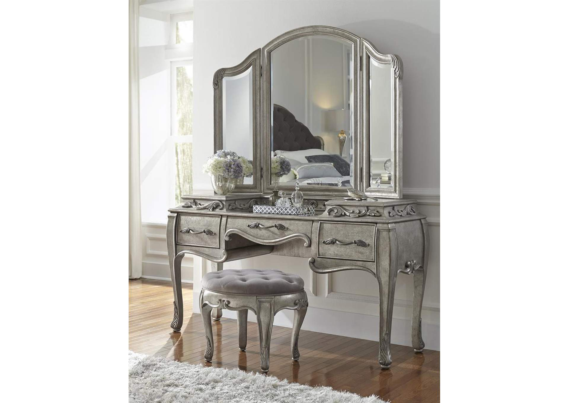 Rhianna Vanity Table Set w/Mirror & Stool,Pulaski Furniture