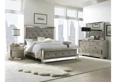 Farrah Metallic Silver Queen Upholstered Panel Bed w/Dresser and Mirror