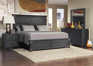 Vintage Tempo Black California King Panel Bed w/Dresser,Mirror, Drawer Chest and Nightstand