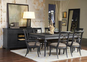 "Image for Vintage Tempo 72"" Black Extension Leaf Dining Table w/4 Side Chairs"