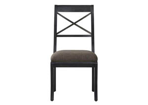 Vintage Tempo Black Upholstered X-Back Side Chair (Set of 2)