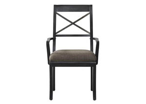 Vintage Tempo Black Upholstered X-Back Arm Chair (Set of 2)