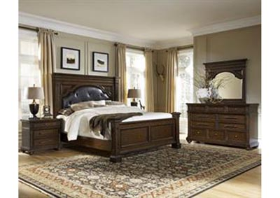 Durango Ridge Aged Brandy King Upholstered Panel Bed w/Dresser and Mirror