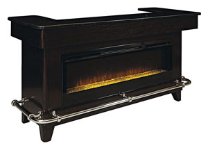 Image for Evo Dark Wood Bar w/Electric Fireplace