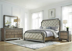 Karissa California King Upholstered Bed w/Dresser and Mirror