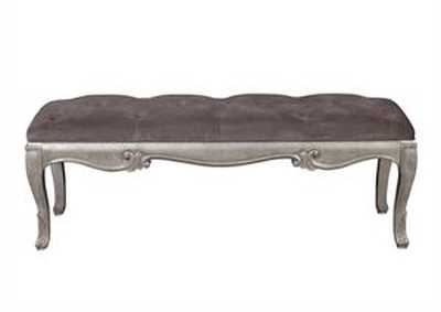 Image for Rhianna Aged Silver Upholstered Bed Bench