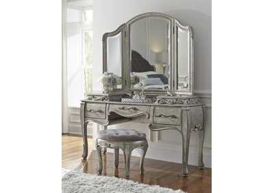 Rhianna Aged Silver Vanity Table Set w/Mirror & Stool