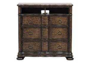 Quentin Media Chest w/2 Open Shelves & 3 Drawers