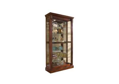 Image for PFC Curios Cherry Brown Lighted Sliding Door 5 Shelf Curio Cabinet