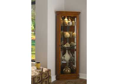 Image for PFC Curios Golden Oak Brown Mirrored 4 Shelf Corner Curio Cabinet