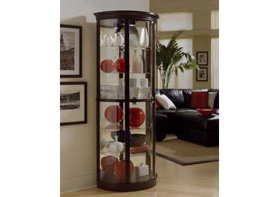 PFC Curios Warm Cherry Brown Half Round 5 Shelf Curio Cabinet
