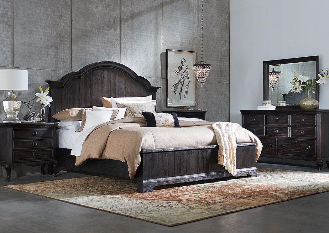 Bellagio Black Weathered Worn Queen Panel Bed W/Dresser And Mirror,Riverside