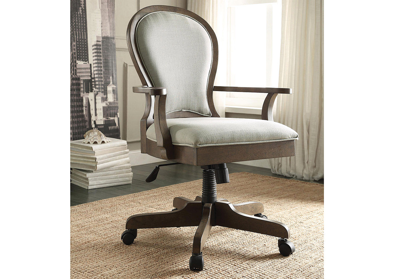 Belmeade Oak Scroll Back Upholstered Desk Chair,Riverside