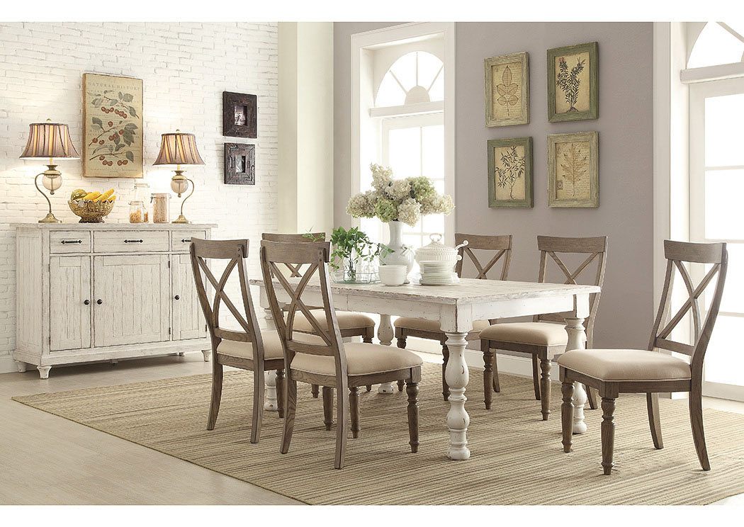 Aberdeen Weathered Worn White Rectangle Extension Dining Table W 6 Side ChairsRiverside