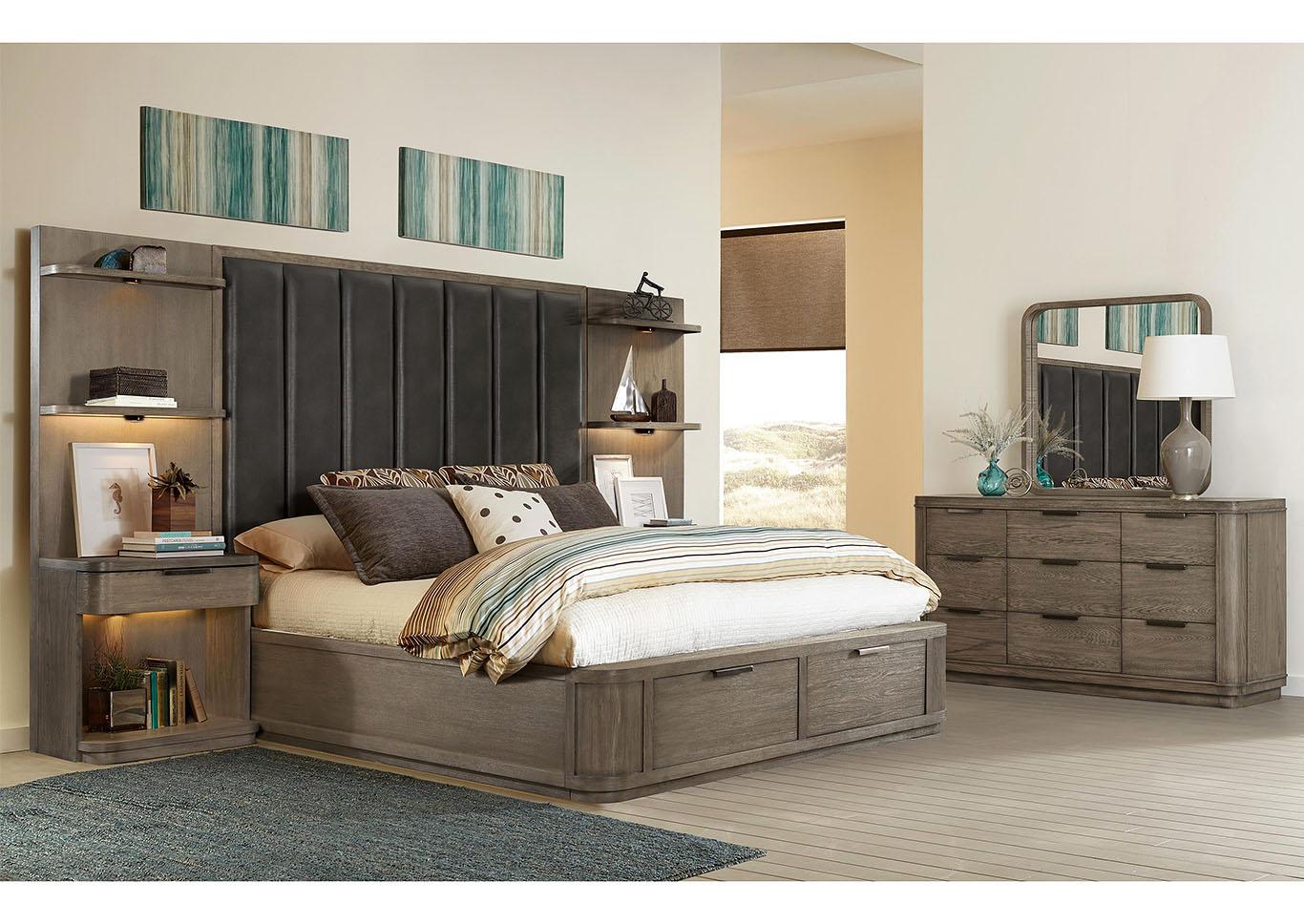 V. Watts Furniture Precision Gray Wash King Tall Upholstered ...