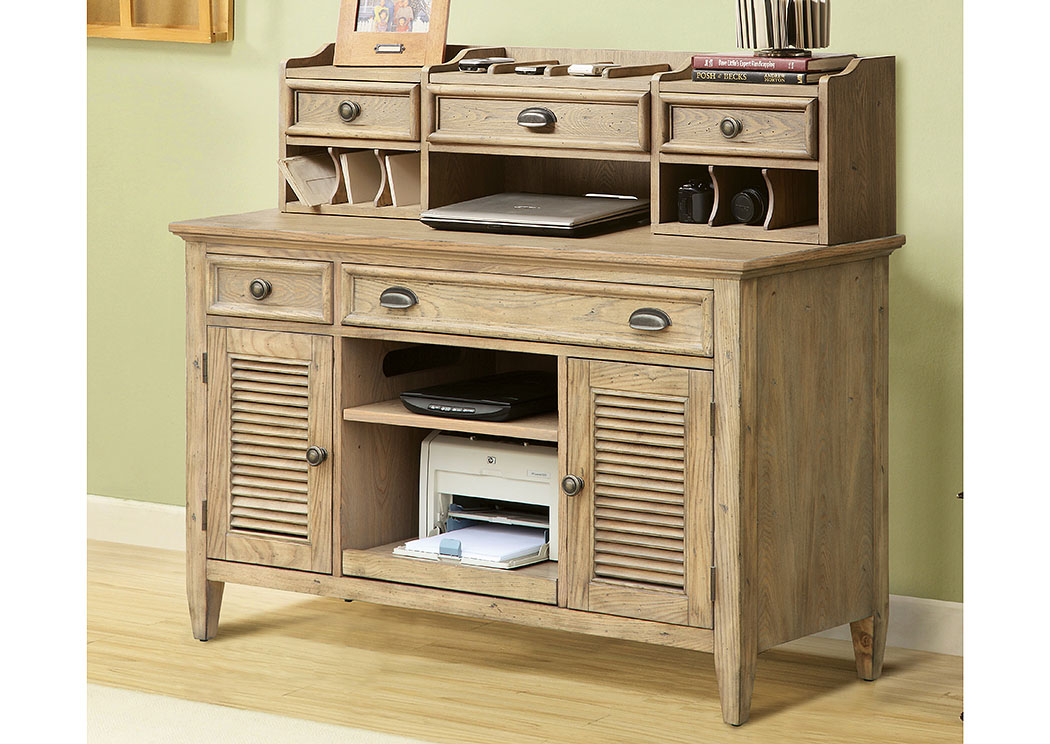 Coventry Weathered Driftwood Credenza Desk w/Hutch,Riverside