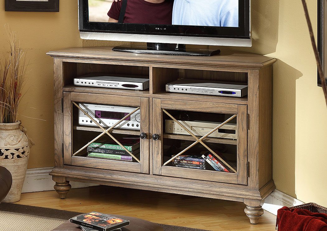 Coventry Weathered Driftwood Corner TV Console,Riverside