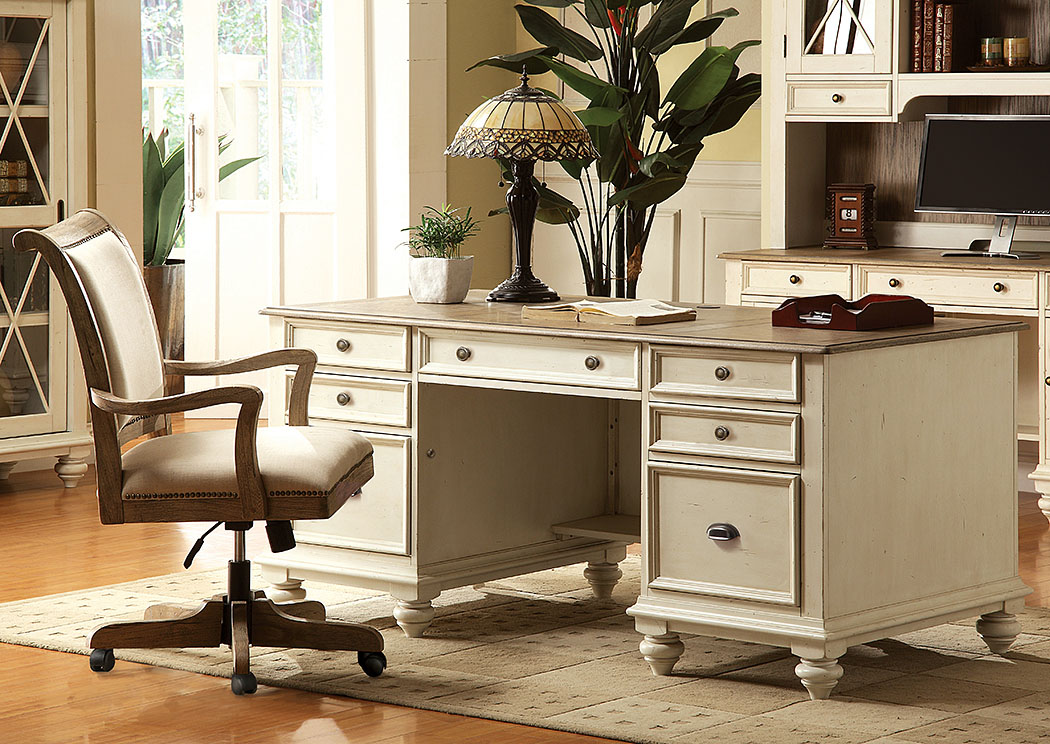 Coventry Two Tone Weathered Driftwood/Dover White Executive Desk,Riverside