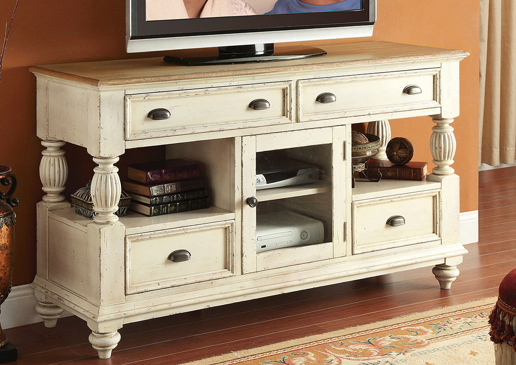 Coventry Two Tone Weathered Driftwood/Dover White Tall TV Console,Riverside