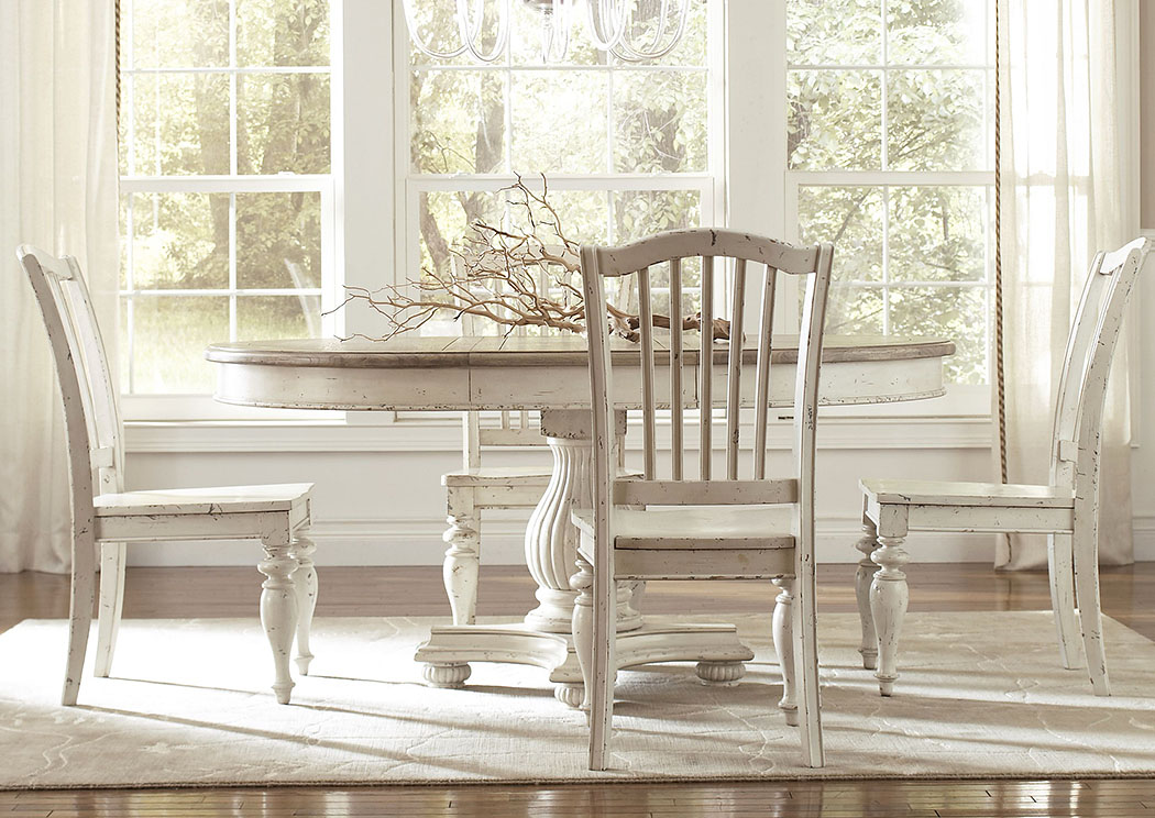 Merveilleux Coventry Two Tone Weathered Driftwood/Dover White Extension Dining Table  W/4 Side Chairs