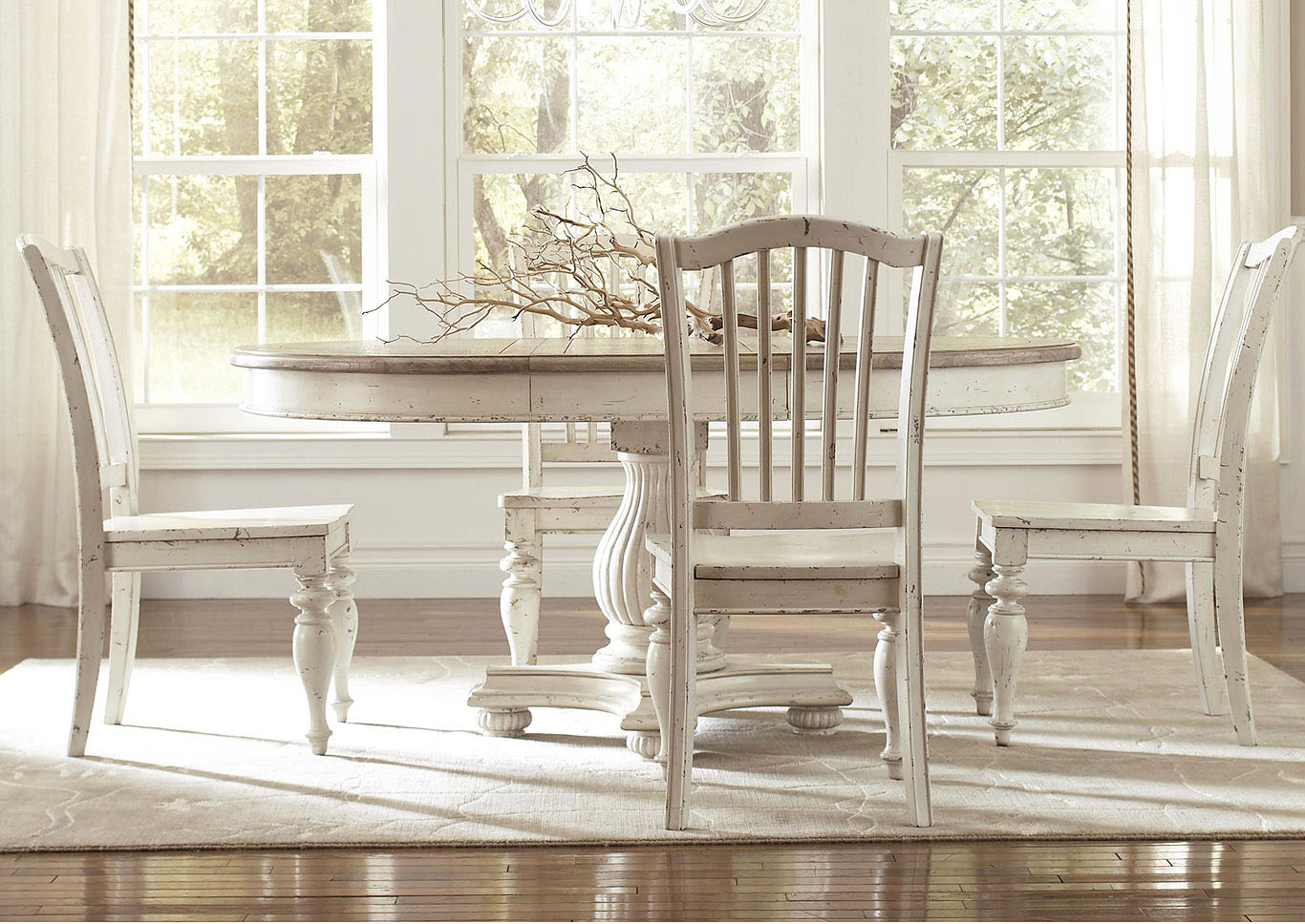 52c9162832e7 Coventry Two Tone Weathered Driftwood Dover White Round Dining Table Top  w 1 18