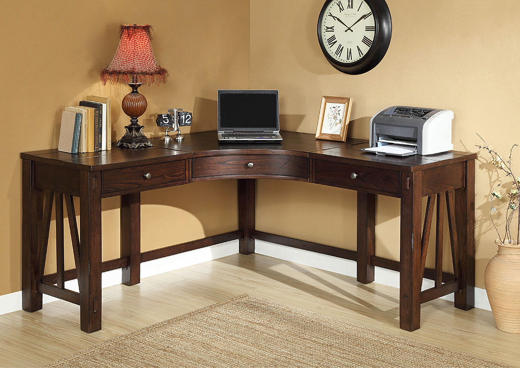 Castlewood Warm Tobacco Curved Corner Desk,Riverside