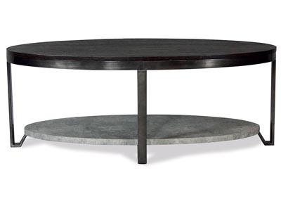 Jude Weathered Worn Black Oval Coffee Table