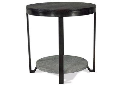 Jude Weathered Worn Black Round Side Table