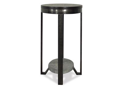 Jude Weathered Worn Black Oval Chairside Table