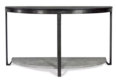 Jude Weathered Worn Black Demilune Sofa Table