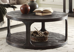 Bellagio Black Weathered Worn Round Cocktail Table