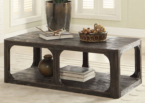 Bellagio Black Weathered Worn Rectangle Cocktail Table