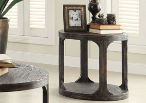 Bellagio Black Weathered Worn Round End Table