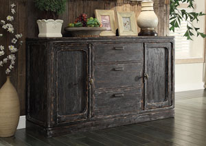Bellagio Black Weathered Worn Server