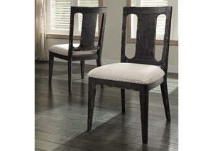 Bellagio Black Weathered Worn Upholstered Side Chair (Set of 2)